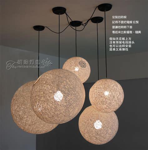 Rattan Chandelier D50cm Pendant Lamp E27 Rattan Ball Pendant Light Wicker