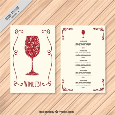 wine list template free template of wine list vector free