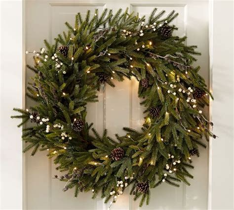 lit frozen pine wreaths pottery barn
