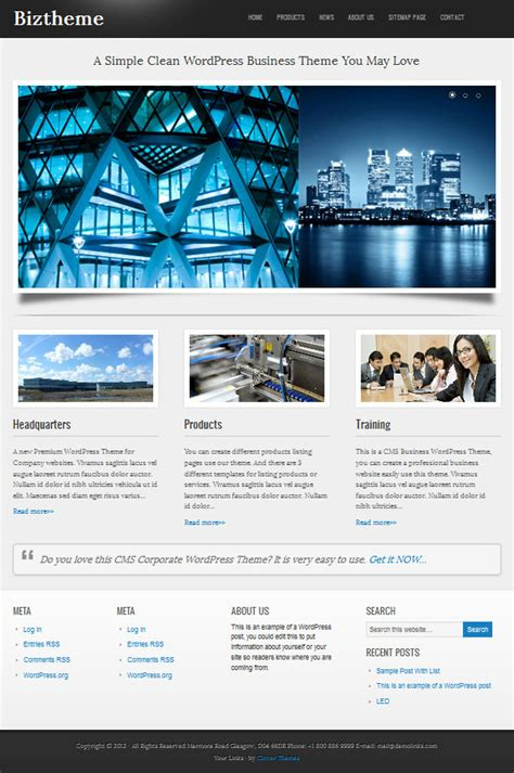 homepage themes html premium business wordpress theme from clover themes