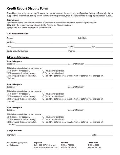credit report dispute form templates