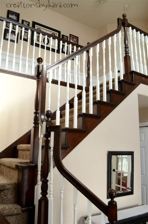 Stain Railing Diy Staircase Makeover With Stain And Paint