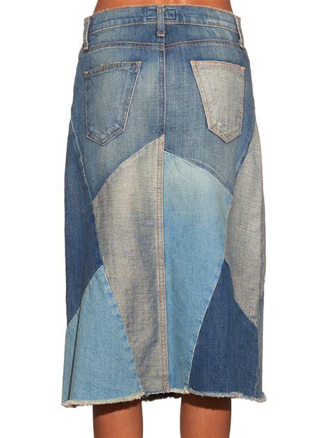 Current Elliott Patchwork - current elliott patchwork denim skirt in blue lyst