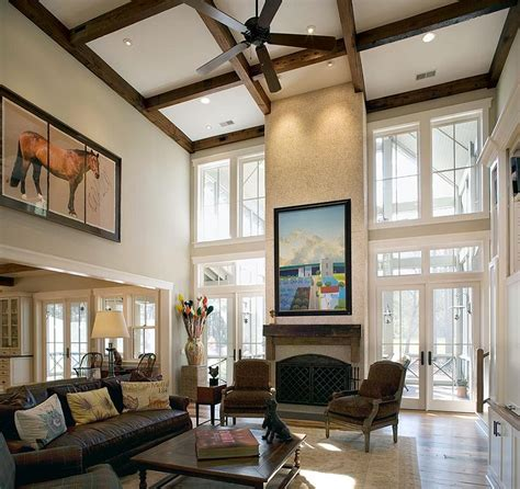 Living Room Ceiling by Sizing It How To Decorate A Home With High Ceilings