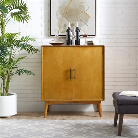 Landon Bar Cabinet Crosley Cf4403 Ac Landon Bar Cabinet In Acorn Finish Birch Veneer