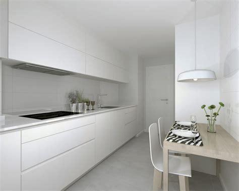 cocina blanca madera moderna pequena isla decoracion de casas