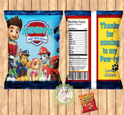 Custom One Of A Bags Chip by Paw Patrol Inspired Chip Bags Paw Patrol Inspired Favor Bags
