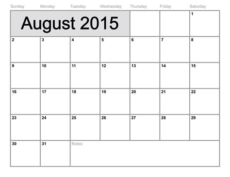 Calendar For August 2015 Calendar Printable Template 10 Templates