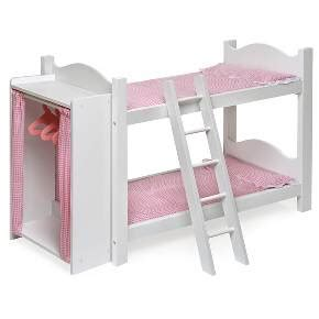 doll bunk beds with ladder and storage armoire badger basket doll bunk beds with ladder and storage