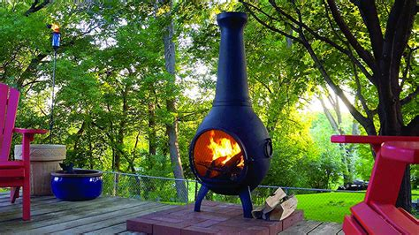 wood burning chiminea outdoor pit dudeiwantthat