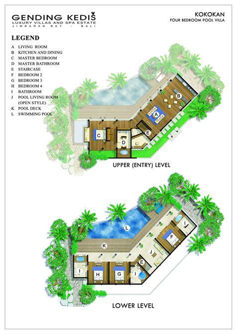 space at bali villa layout 4 bedroom pool villa gending kedis