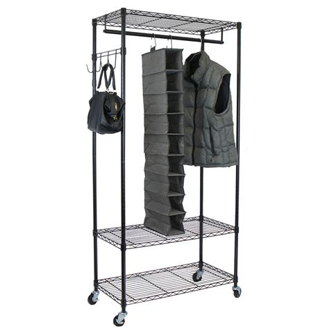 oceanstar design garment rack with adjustable shelves