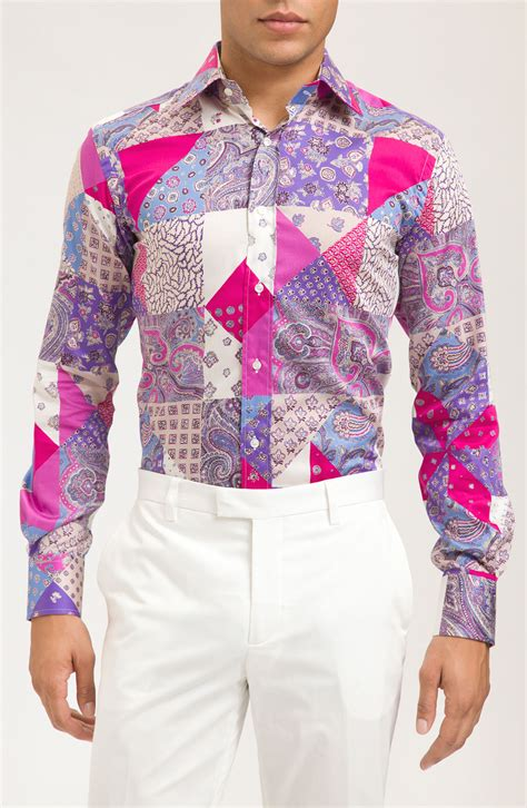 Patchwork Shirt - etro patchwork print shirt in pink for lyst