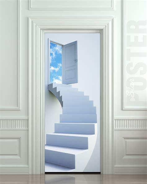 door stickers wall door sticker stairs flight sky heaven decole poster