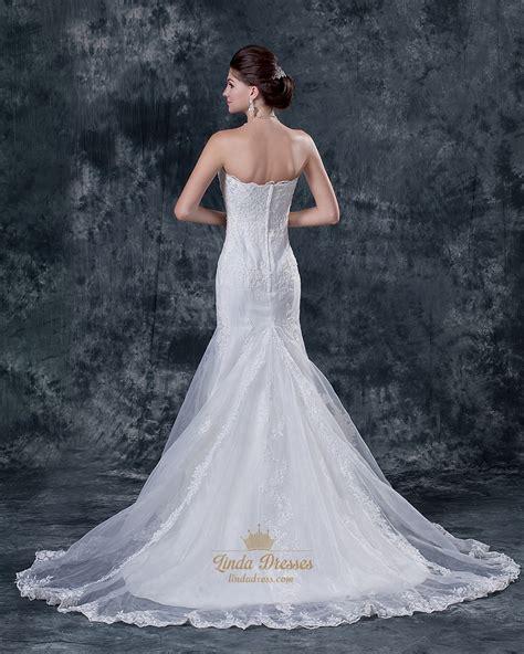 strapless beaded mermaid wedding dress ivory mermaid beaded lace applique strapless wedding dress