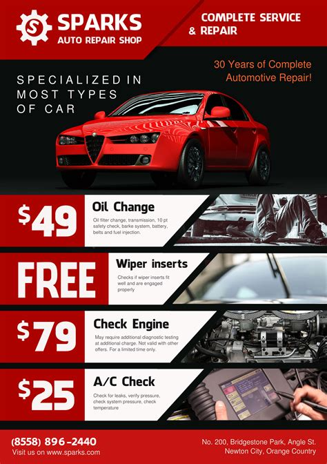 Car Service Post Card Template by Template For Flyer A5 Auto Repair Shop Theme