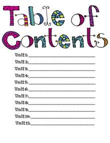 msds table of contents template