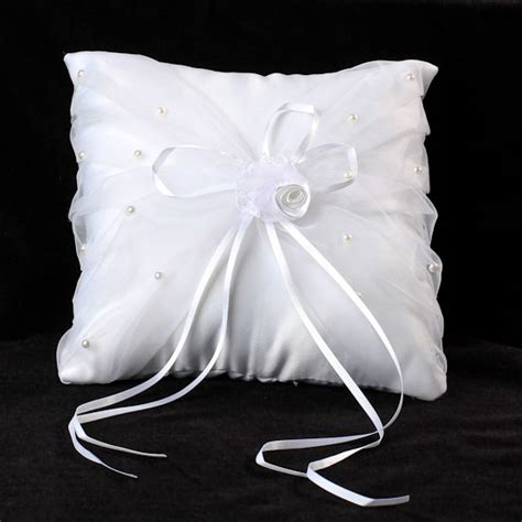 7 quot white satin organza ring bearer pillow with pearl