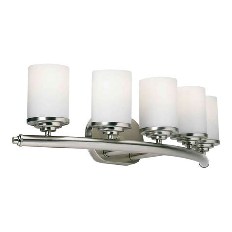 Brushed Nickel Vanity Lights Bathroom Forte Lighting 5 Light Bathroom Vanity Light In Brushed