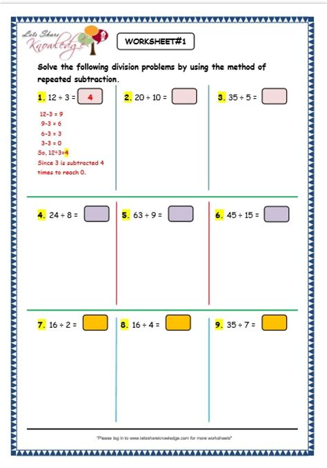 Division As Repeated Subtraction Worksheets Free by Common Worksheets 187 Division As Repeated Subtraction
