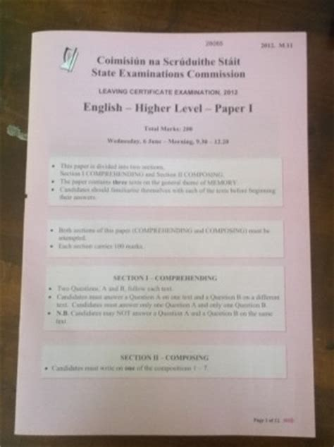 layout of a report leaving cert english english leaving cert exam papers online leaving cert