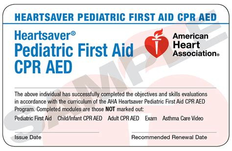 heartsaver aid cpr aed card template hs pediatric fa cpr aed course completion card bundled