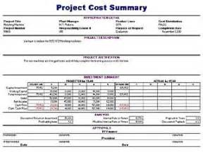 Project Cost Summary Template project cost summary template free layout format