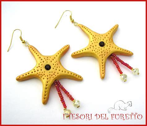 corsi per l estate quot orecchini estivi quot stella marina oro strass rosso quot estate