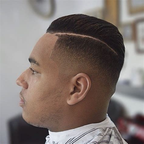 Parted Haircut Male Dark | fade with side part black men images