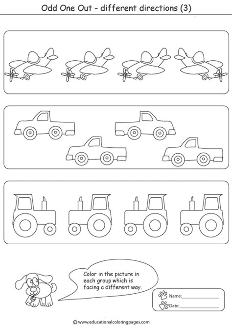 Odd One Out Coloring Educational Fun Kids Coloring Pages
