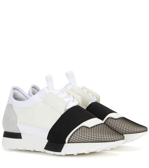 lyst balenciaga race runner leather sneakers in white