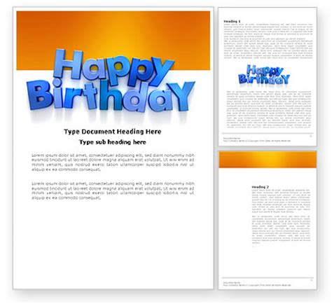 Word Vorlage Happy Birthday Happy Birthday Word Template 03817 Poweredtemplate