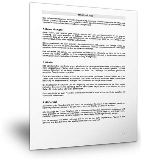 Hausordnung Muster by Mustervorlage F 252 R Eine Hausordnung