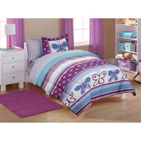 childrens butterfly bedroom accessories mainstays kids purple butterfly coordinated bed in a bag