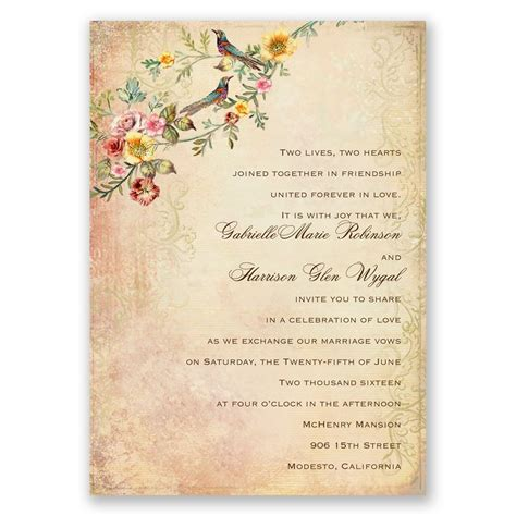 Wedding Invitation Vintage by Vintage Birds Invitation Invitations By