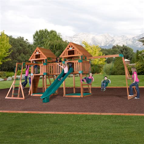 swing and slide set kmart backyard discovery kings peak wooden swingset