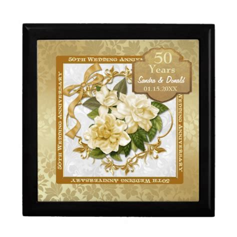 50th Wedding Anniversary Gifts Gold by Floral Gold 50th Wedding Anniversary Gift Boxes Zazzle