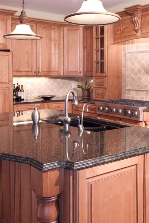 kitchen cabinets  countertops beige granite