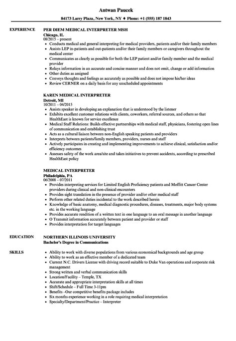 wonderful interpreter resume sle contemporary resume