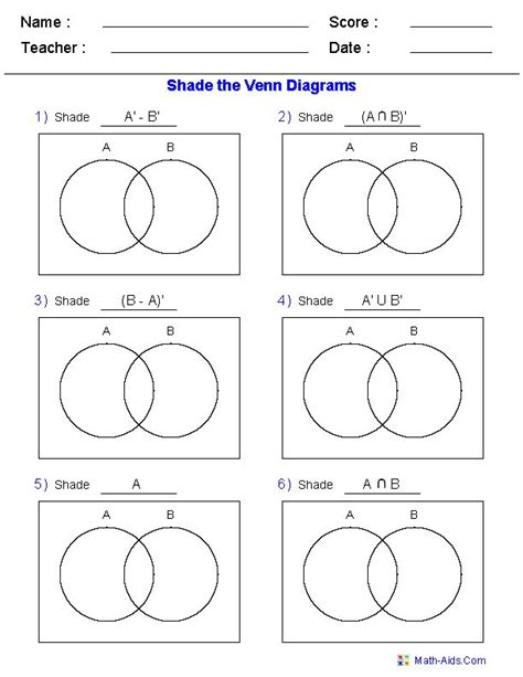 venn diagram math worksheets practice test on venn