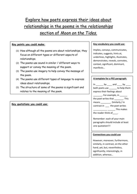 Essay Writing Frame by A Writing Frame For Comparing Poems By Mrharefield Teaching Resources Tes