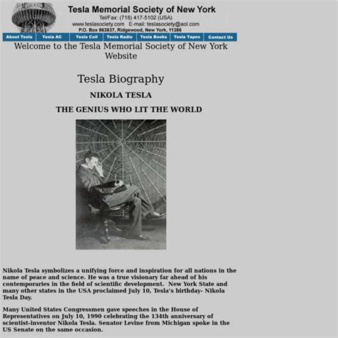 Tesla Autobiography Tesla S Biography Pearltrees