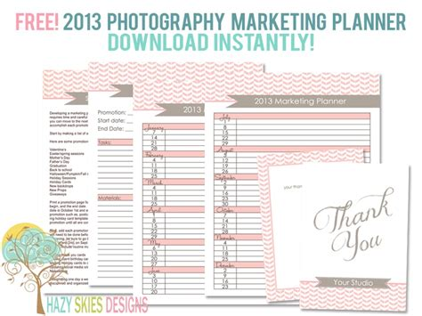 Free 2013 Photography Marketing Planner Free Templates For Photographers Pinterest Free Photography Marketing Templates