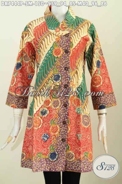 Kemeja Wanita Motif Bunga 128 baju batik kerja motif bunga dress batik printing
