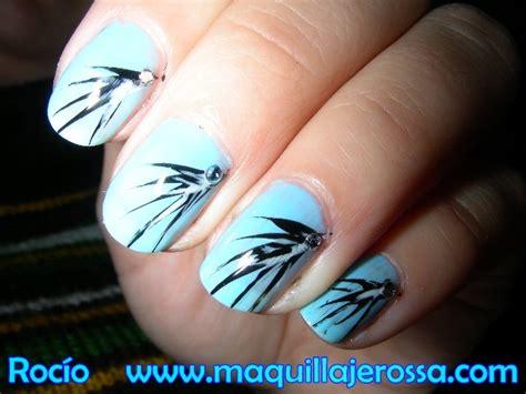 imagenes uñas decoradas azul u 241 as en azul y negro paso a paso maquillajerossa