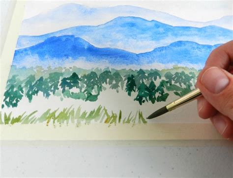 watercolor logo tutorial watercolor mountains step by step tutorial