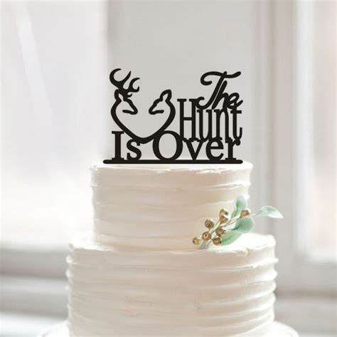 The Hunt Is Over Wedding Cake Topper Hunting Cake Topper