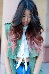 black hair with colored tips faded pink dip dyed hair colors ideas