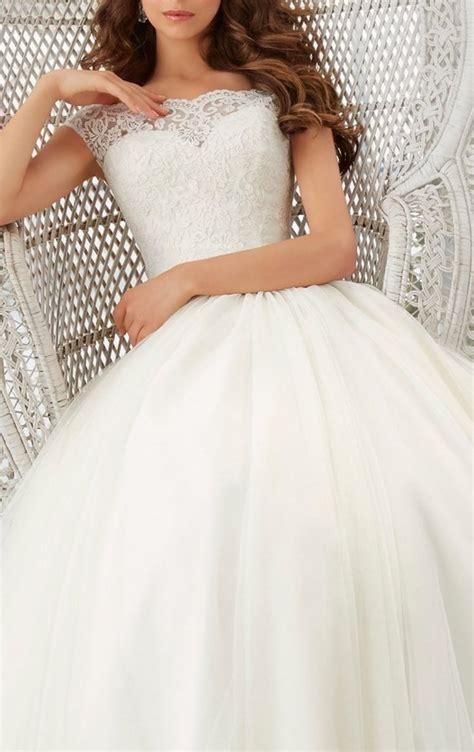 simple long   cap sleeve train lace wedding dress