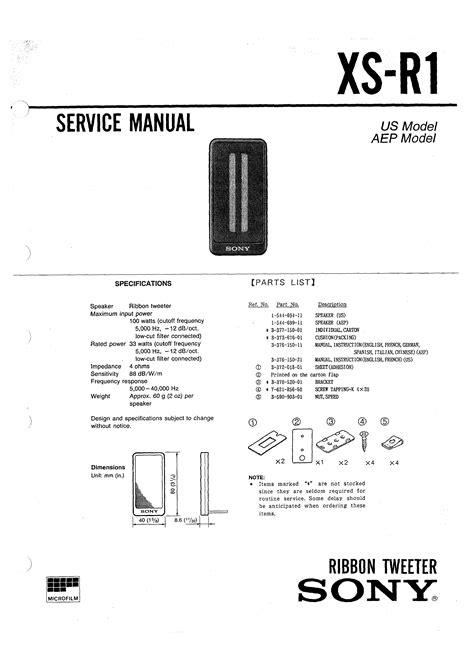 SONY XSR1 - Service Manual Immediate Download